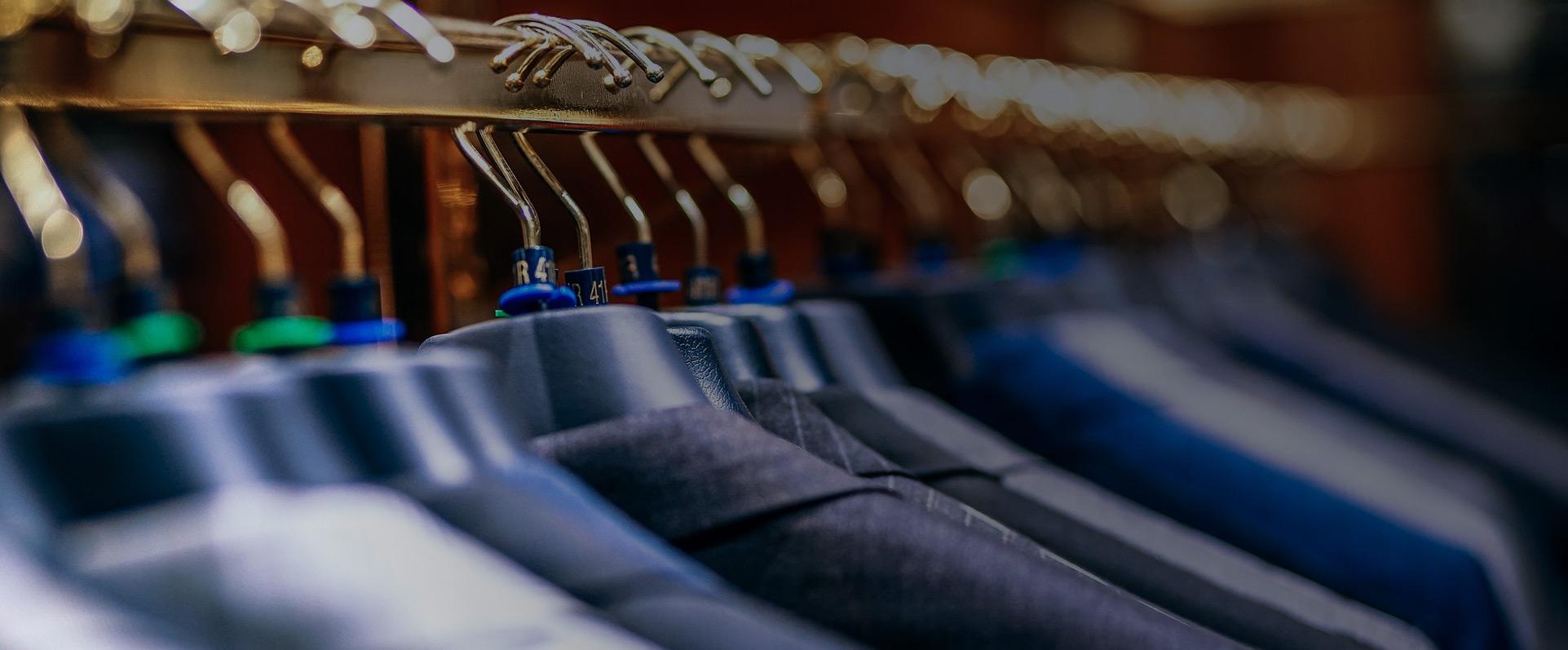 Hangers in men's suit shop